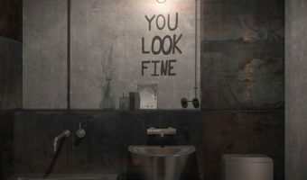 Banyolarda beton görünümlü duvarlar