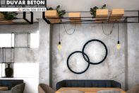 Kuaför salonu beton görünümlü duvar